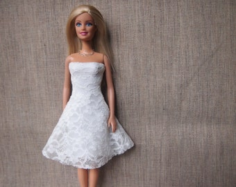 Evening Dress with necklace/ White lace Dress/ Barbie Dress