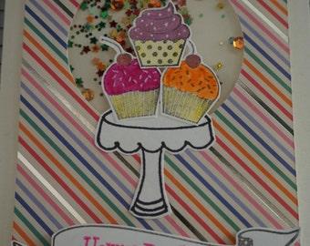 Birthday Shaker Card - Cupcakes