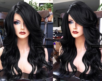 Black Lace Front Wig // Heat Safe LACE Front & Part OFF BLACK Long Wavy Wig w/ Curly Baby Hair