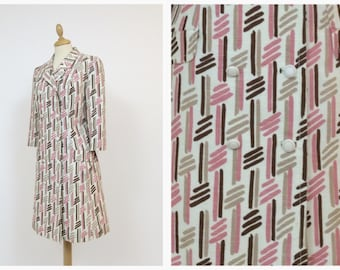 Vintage 60s white abstract print spring overcoat - size S/M