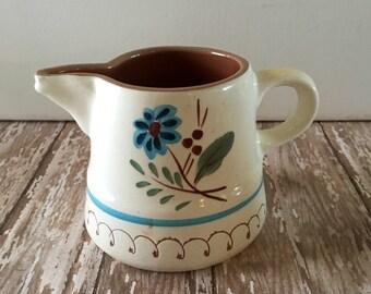 Vintage Cream Pitcher, Stangl Pottery, Blue Daisy Creamer Pitcher, !960's Glazed Pottery, Rare Stangl Small Pitcher