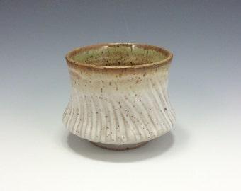 Handmade Ceramic Teabowl, Speckled Stoneware, Textured, Speckled Cream and Green glazes