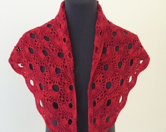 Crochet Triangle Scarf - Gypsy Red Tonal