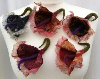 Merino Wool and Silk Flower Brooch