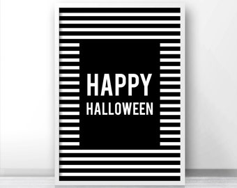 Happy Halloween Print, Halloween Printables, Fall Printable Art, Instant Download Printable Halloween Decor, Digital Halloween Wall Art