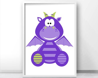Purple Nursery Print, Kids Wall Art Print, Kids Room Decor, Boys Wall Art, Baby Boy Nursery Print, Dragon Kids Print, Printable Nursery Art
