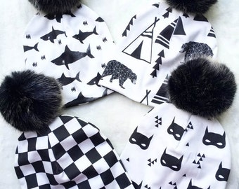 Baby Boy Organic Slouchies in Black and White