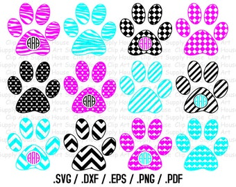 Paw Print Monogram Frame SVG Cut Files for Vinyl Cutters, Screen Printing, Silhouette, Die Cut Machines - CA162