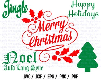 Happy Holidays Clipart, Christmas SVG File, Candy Cane SVG File for Vinyl Cutters, Screen Printing, Silhouette, Die Cut Machine - CA319