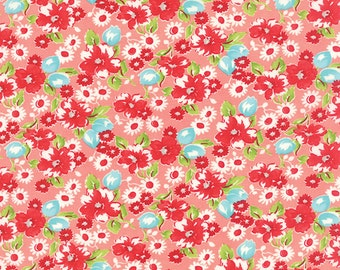 Moda Fabrics - Little Ruby / Little Swoon Coral Pink Floral Fabric with Red, White, Aqua Flowers - Bonnie and Camille