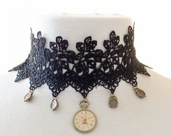 steampunk lace choker with clock charme