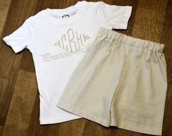 Boys Heirloom Diamond Monogram Shirt- You choose colors- Personalized Long Sleeve Shirt- Pant set- Shorts- Sz 6m, 12m, 18m, 2t, 3t, 4t, 5,6