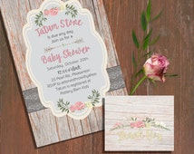 Printable Baby Shower Invitation Set -Rustic Rose Baby Shower Invitation and matching Thank You card