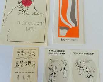 Vera Scarf Tying Art Brochure and Other Scarf and Fashion 60's Ephemera