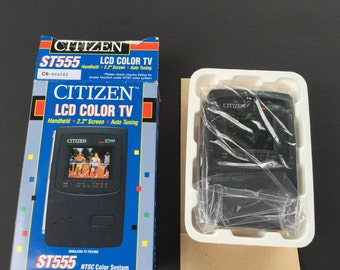 """Citizen LCD color TV, ST555 citizen lcd color tv , handheld tv 2.2"""" screen, new in package mini television with box"""