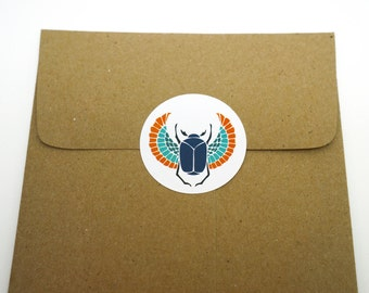 Blue Egyptian Scarab, 24 Pack of Circle Stickers : FREE SHIPPING