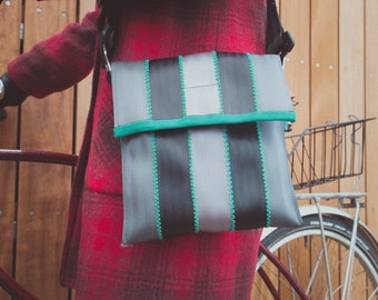 Up-cycled Shoulder Bag - made using recycled seatbelts - vegan friendly