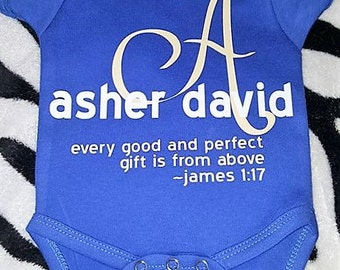 Every Good and Perfect Gift is from Above, Monogrammed Scripture Onesie