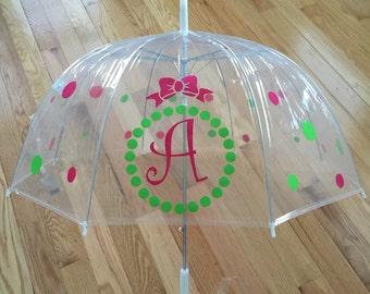 Monogrammed umbrella, adult & child size, personalized Umbrella, great gift Monogram Umbrella, clear dome