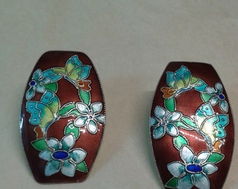 Vintage Sino-Russo 925 solid sterling silver ,gold gilt and enamel earrings , Soviet era Asian floral fashion