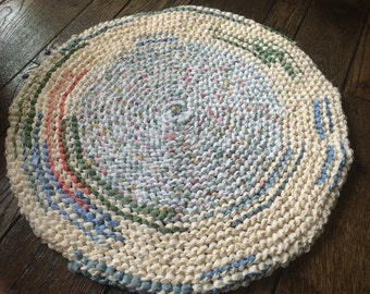 Yellow and White Rag Rug