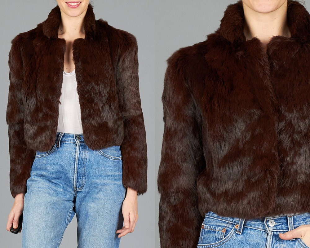 Amazing Vintage XS / Small Brown Rabbit Fur Cropped Jacket