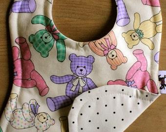 Teddy Bears & Polka dots baby bib