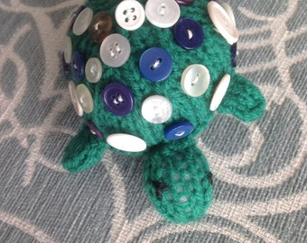 Handknitted Turtle with Button Shell