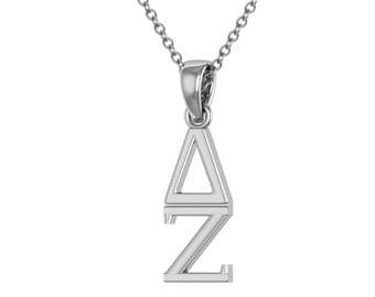 Delta Zeta Necklace - Sterling Silver / DZ Necklace / Turtle Lavalier / Big Little Gift / Sorority Jewelry /DZ Gifts