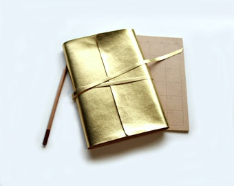 A5 Notebook Cover, A5 Planner Cover, A5 Journal Cover, A5 Travelers Notebook Cover, A5 Fauxdori, A5 Bible Cover, A5 Hobonichi Cousin, Gold.