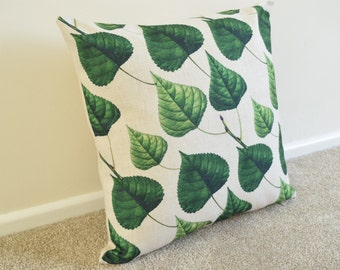 Refreshing Green Leaf Design in Cotton Linen Cushion/Pillow Cover 18 x 18""