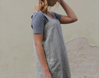 Linen Pinafore, Square Cross Linen Apron, linen tunics, Japanese Style Apron, linen tunic with pockets, work linen dress, linen