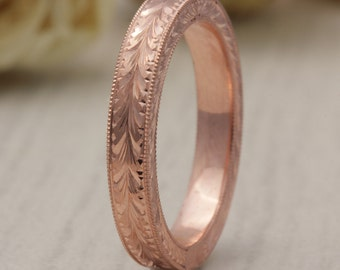 3mm 14K Rose Gold Hand Crafted Design, Comfort Fit with Milgrain sides , Wedding Band,  Gold Rings , Rose Gold Band