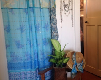 Tranquil Turquoise- Vintage Scarf Curtain/Wall Hanging