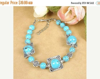 SALE Genuine Turquoise Sterling Silver  Bracelet - STERLING SILVER - Turquoise - Gemstone Bracelet -