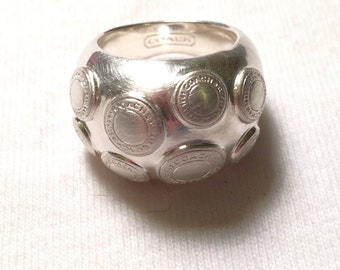 925 sterling silver designer coach  dome ring