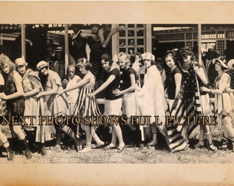 "1917 Bathing Suit Fashion Parade Seal Beach CA Bathing Beauties Panoramic Photo Panorama 7"" x 31"" Long"