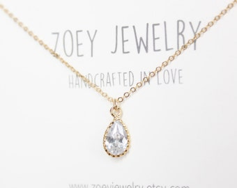Dainty Teardrop Diamond Necklace,Diamond Silver Necklace,Diamond Gold Necklace,CZ Necklace,Bridesmaids Gift,Wedding Necklace,Mothers gift