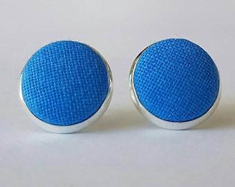 Blue fabric button stud earrings.