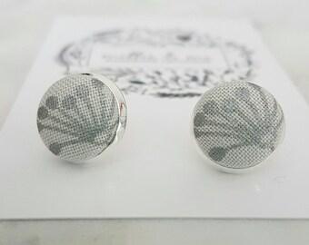 Silver fabric stud earrings