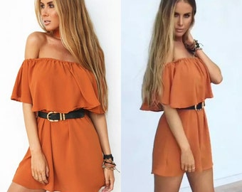 Ladies Womens Off The Shoulder Ruffle Frill Dress Mini Party Rust Burnt Orange