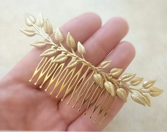 Leaf Hair Comb Gold Edwardian Leaf Hair Comb Laurel Hair comb Leaf Branch Hair Clip Bridal Hair Comb Grecian Hair Goddess Hair