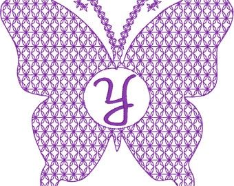 Motif Embroidery Butterfly Monogram Design