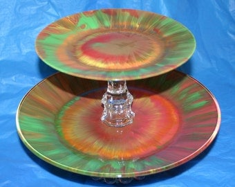 Rainbow Tie Dye Retro Hippie Groovy Vintage Glass Cake or Cupcake Plate Stand One Two or Three Tier for Weddings or Any Occasion
