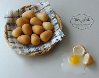 Miniature eggs for dollhouse 1:12 scale