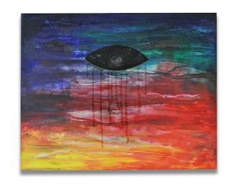 Retina IV, Original Acrylic and Resin Painting, Handmade by MENGXUAN LIU