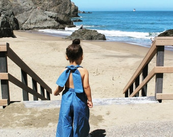 Palazzo Denim Jumpsuit for Toddler/Kids by King and Lola, denim romper, baby denim, toddler, denim 2016-fashion-kids-girls-jumpsuit-overalls