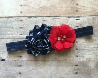 Fourth of July Baby Headband, Red & Blue headband, Newborn Headband, Baby photos, Baby shower gift, Patriotic Headband, Chic Headband