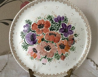 """Vintage  Denby Stoneware Plate, Pretty Hand Painted Flowers  by E Ratcliffe.   8 1/4"""" Diameter"""