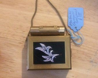 Vintage Max Factor Carryall Compact. Make Up Case. Brass. Bargain as marcasite detail on front is snapped and loose